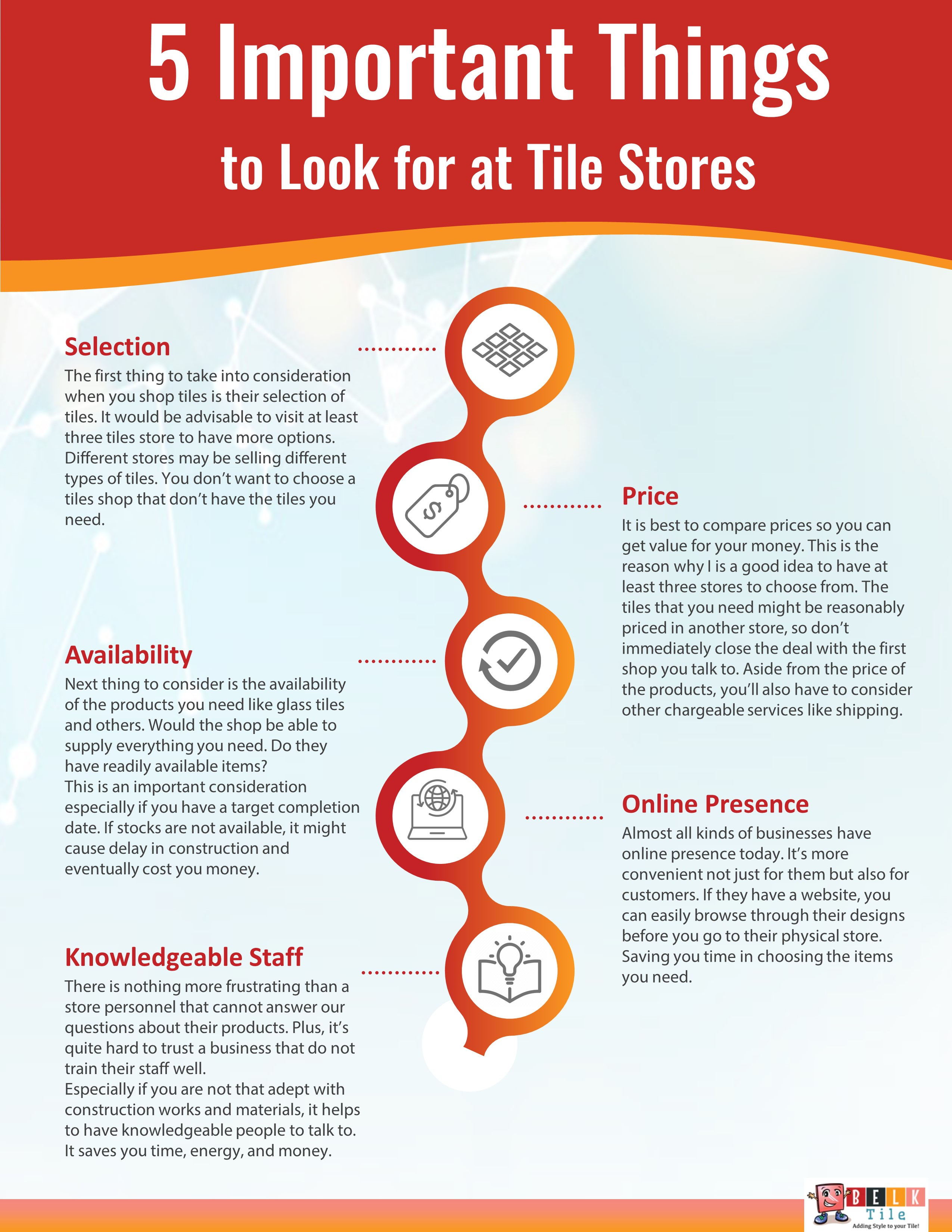 Infographic - 5 Important Things to look for at Tile Stores - BELK Tile