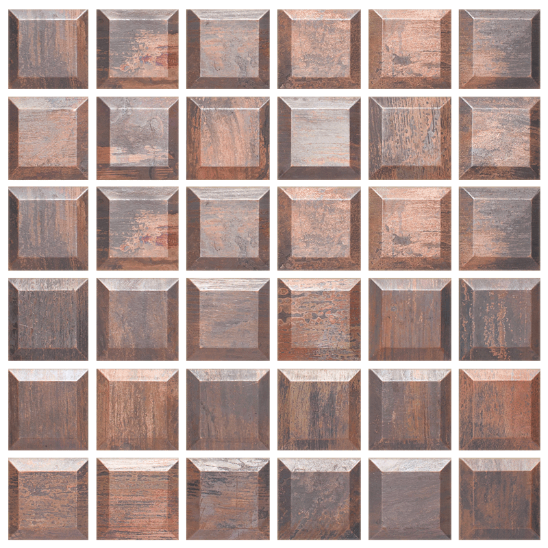 2 x 2 Beveled Copper Mosaic Tile