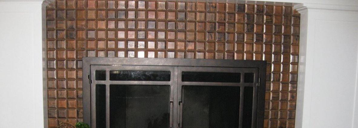 Antique Copper Tile Backsplashes and Fireplaces