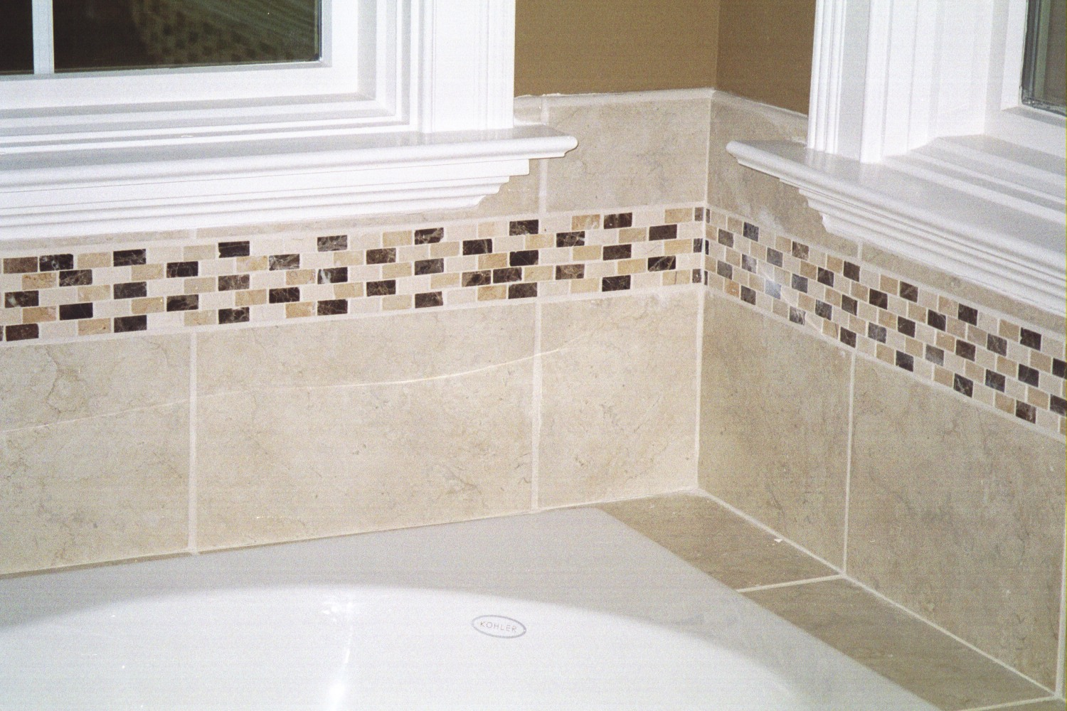 Bathroom wall tile natural stone border marble and travertine BELK Tile