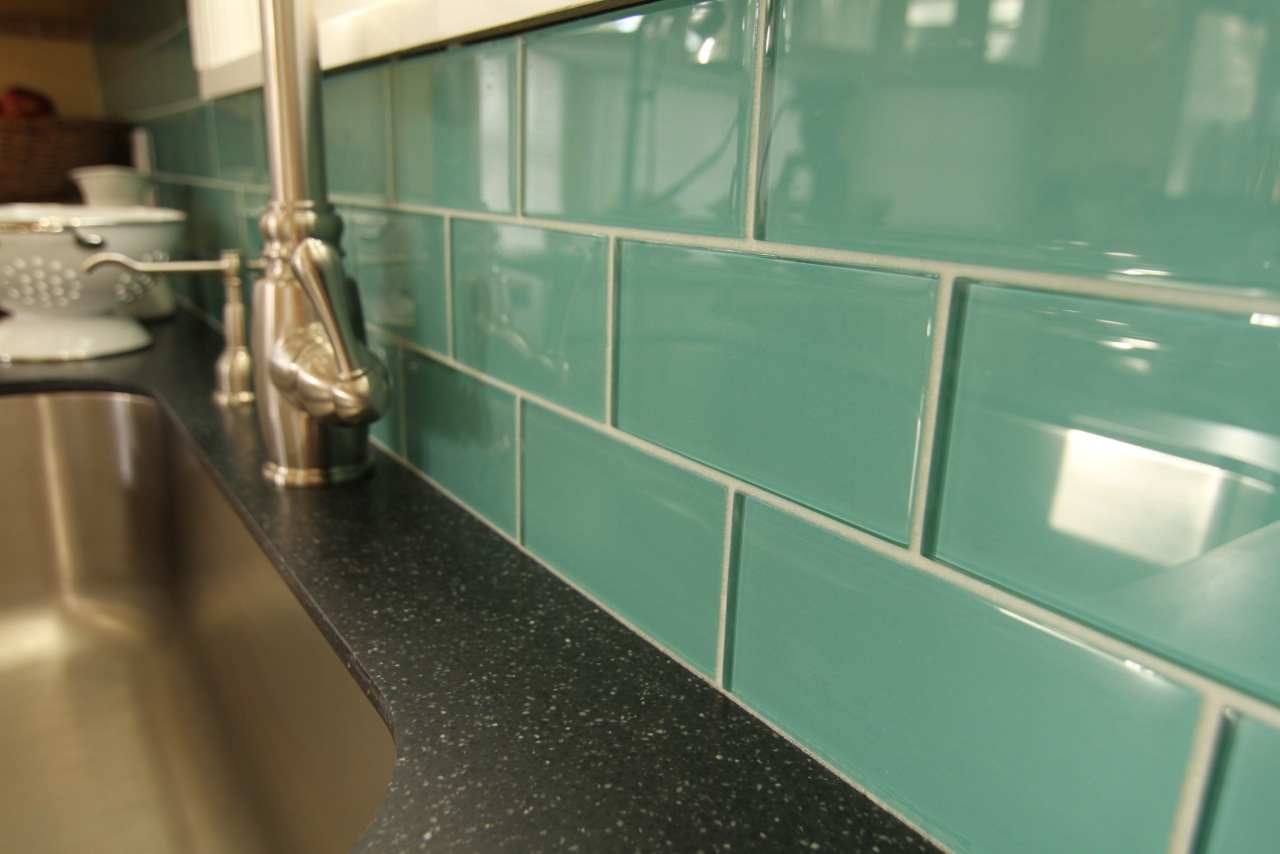 Subway Teal glass tiles