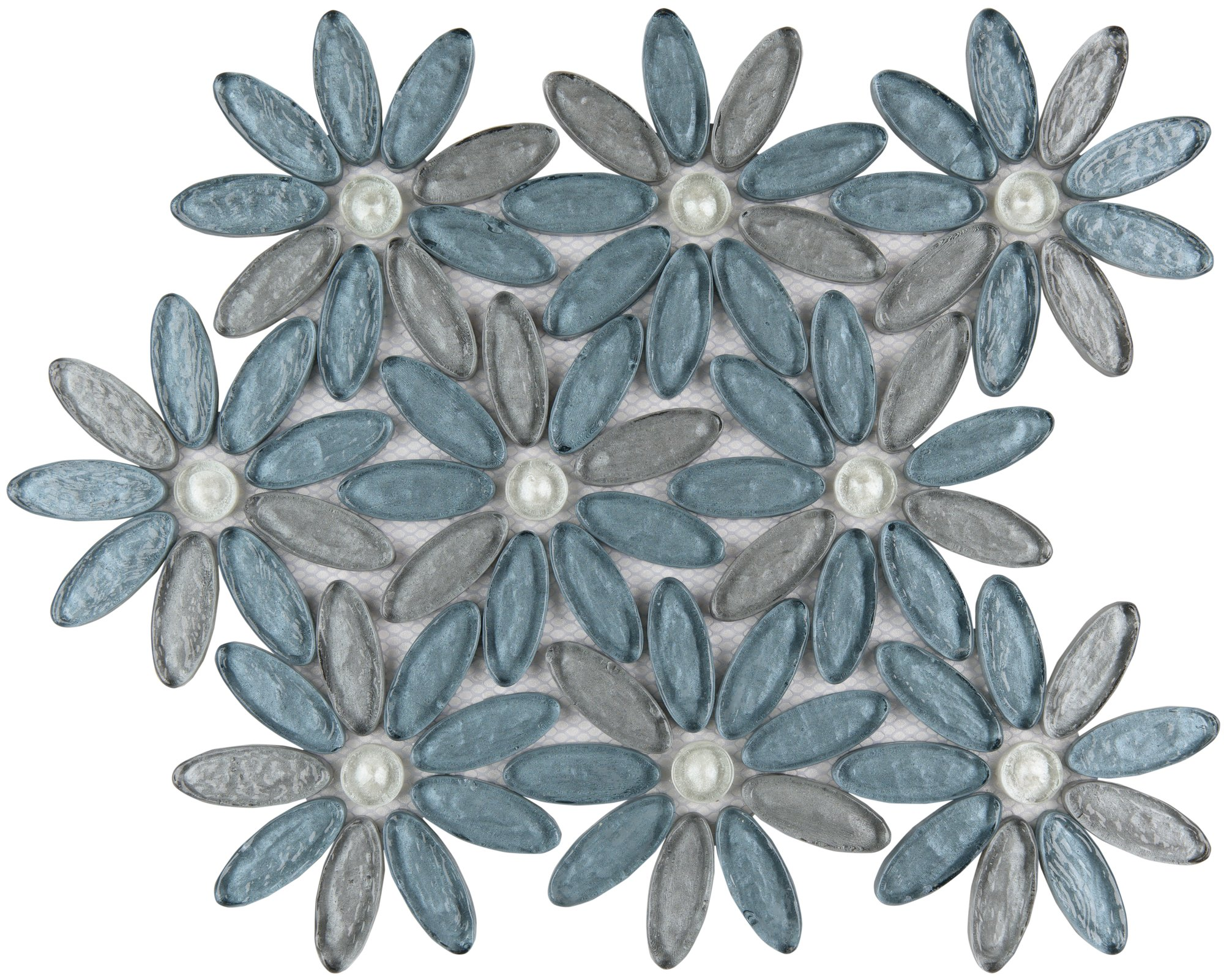 Waterjet Glass mosaic tiles - Floral Design Alpinia Floral Fusion
