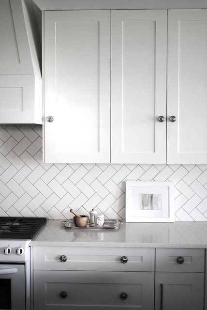 herringbone kitchen backsplash