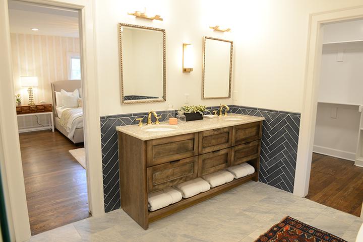 Herringbone bathroom backsplash