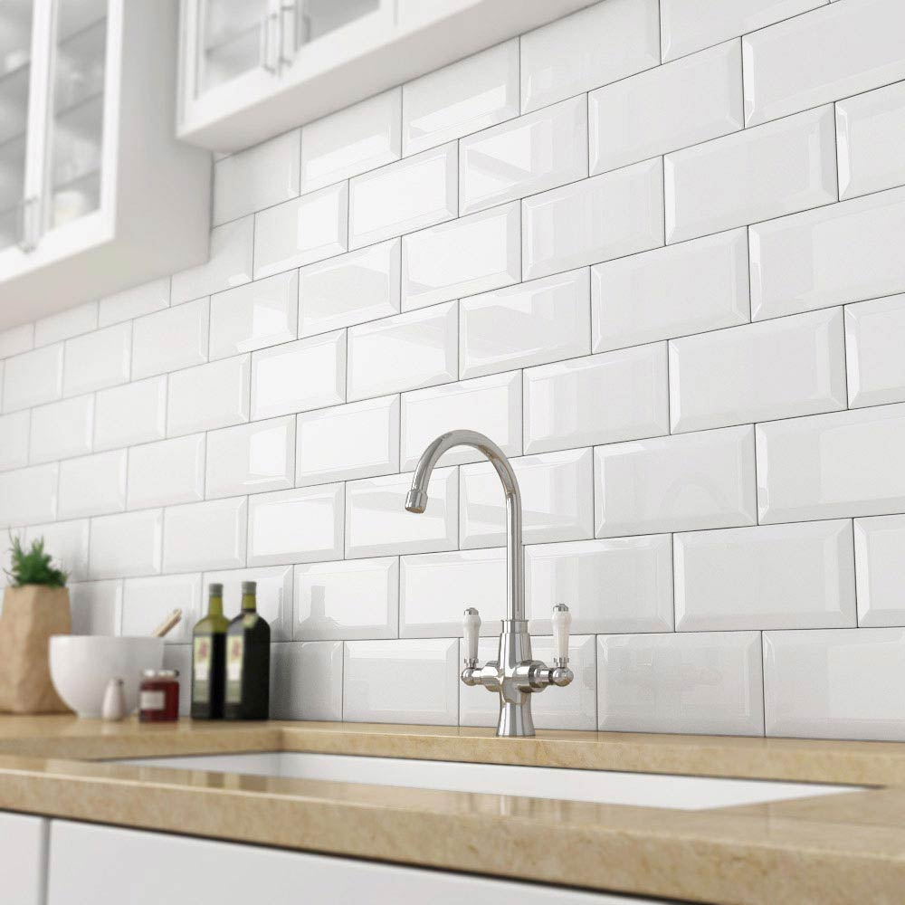 white beveled subway tile backsplashes | BELK Tile