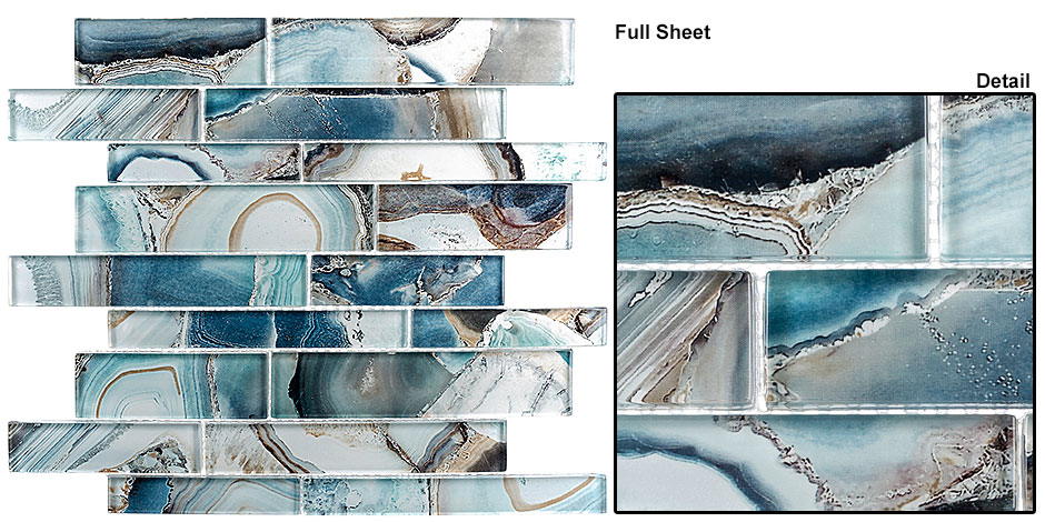 Magical Forest Crystal Lagoon Mosaic glass backsplash