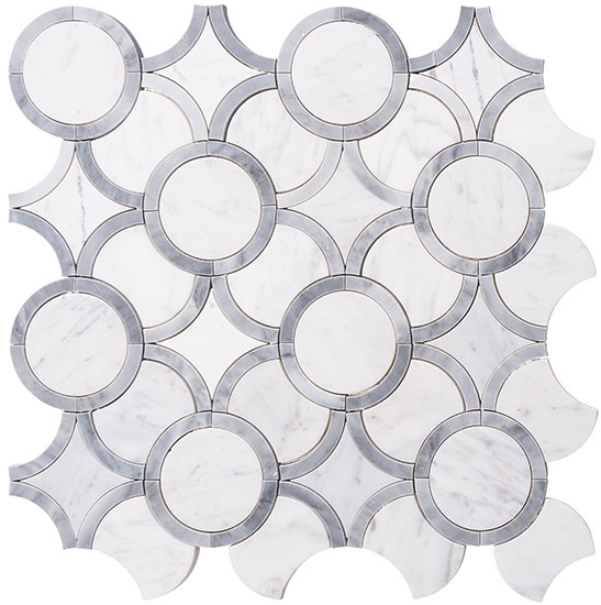 White waterjet marble mosaic tile